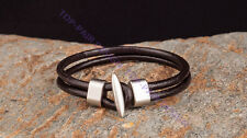 Surfer Men's Handmade Double 4mm Real Genuine Leather Bracelet Clasp Wristband