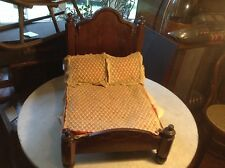 Circa 1860 Antique Walnut Victorian Miniature Child's Doll House Bed Dog Cat Bed