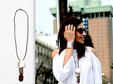 AUTHENTIC ZARA BEAUTIFUL LONG CHUNKY CHARM WOODEN BEAD DRESS NECKLACE NEW