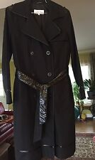 Calvin Klein S Black Buttoned Cotton Trench Coat w/ Patent Belt And Trims