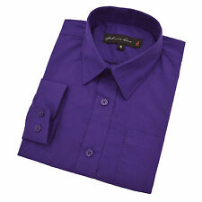 Johnnie Lene Big Boy's Long Sleeves Cotton Blend Solid Dress Shirt #JL32