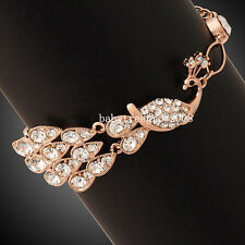 Noble Peacock 18K Rose Gold GP Fashion Clear Crystal Animal Bracelet 386