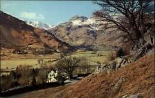 Langdale Valley vintage postcard ~1960/70 Panorama The English Lakes Berge Haus