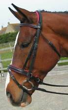 CS Comfort Bridle Havana with Rasberry Pink padding crank  FULL with Reins