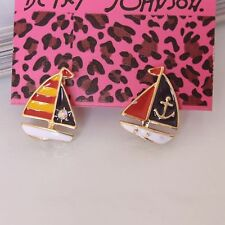 NEW Betsey Johnson Beautiful Crystal SEXY Sailboat Alloy BJ Earrings BJEA008