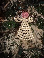 Angel Beaded Pearl Handmade Christmas Ornament Miniature 2""