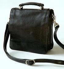 BOSBOOM  BLACK LEATHER , SMALL MESSENGER / MAN BAG,Very Good 'Vintage' condition