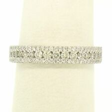 NEW 18k White Gold 0.60ctw Channel Pave Round Brilliant Diamond Modern Band Ring