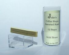 "12 Solid Brass Metal Collar Stays For Dress Shirts 2.15"" Inch Jake's Small"