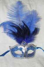 BLUE & SILVER FEATHER MASK VENETIAN MASQUERADE BALL CARNIVAL PARTY EYE MASK