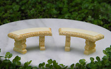 Miniature Dollhouse FAIRY GARDEN Furniture ~ Tiny Tan Curved Bench ~ Set of 2