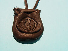 Southwest Kokopeli Medicine Flap Pouch Buckskin Necklace Brown Medicine Bag 1005