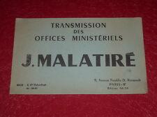 [ART & PUBLICITE, COLLECTIONS] BUVARD ANCIEN/ J.MALATIRE Transmission Nice Paris