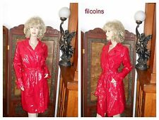 Vtg ML Shiny Red PVC Vinyl Raincoat Patent Trench Coat Rain Slicker Rain Jacket