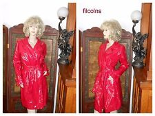 Vtg M Shiny Red PVC Vinyl Raincoat Patent Trench Coat Rain Slicker Rain Jacket