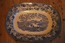 Victorian Blue and White Eton College Meat Plate  c. 1860