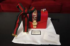 NWT Gucci Sylvie Leather Mini Chain Crossbody Bag Hibiscus Red $1980