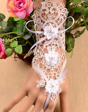 Hot Fashion Occident Party Noble Banquet White Flower Lace Gothic Bracelet Rings