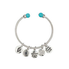 Lux Accessories Live Laugh Love Inspirational Charm Bangle Bracelet