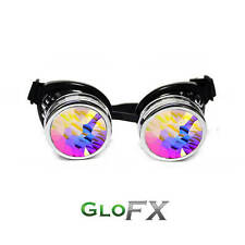 GloFX Chrome Kaleidoscope Padded Goggles Rave Adult Kid Real Glass Hard-Coated