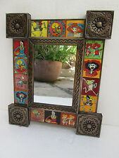 PUNCHED TIN MIRROR mexican day of the dead mixed talavera tiles         folk art