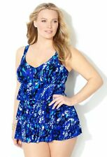 Avenue NEW Swimsuit Swimdress Blue Animal Print Plus Adjustable Straps 32 32w 5x