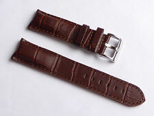 Top Quality Lug 22mm Brown Genuine Leather Alligator Strap Fits All