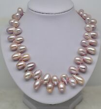 """GW 9-10MM AAA natural color oval pearl necklace 18"""" long with rose clasp ."""