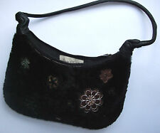 SIENNA DE LUCA REAL LEATHER & SHEEPSKIN BLACK ITALIAN DESIGNER HANDBAG.