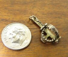 Vintage silver ENGLAND ENGLISH MOVABLE BEAR TRAP BRACELET charm CHIM
