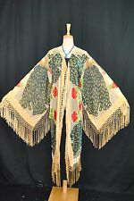 Hippie Peacock Duster Kimono Opera Coat Silk Burnout Velvet Baby Golden Multi