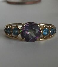14K SOLID YELLOW GOLD MYSTIC AND BLUE TOPAZ RING Size 9
