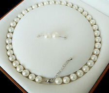 8mm White Akoya Cultured Shell Pearl Necklace Earring Set 18'' AAA