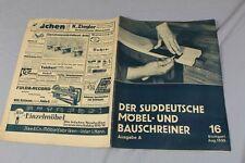 Süddeutsche Bauschreiner + Beilage , Schreibtisch Werkzeichnung - Nr. 16 v. 1935