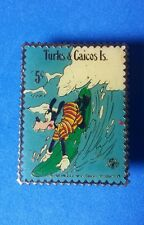 Goofy Surfing Turks and Caicos Island 5 Cent Postage Stamp Disney Pin RARE