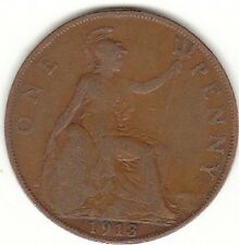 1913 RE GEORGIVS V One Penny 1d-Coin Hunt
