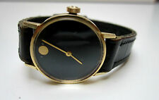 Rare 14K Yellow Gold Swiss OMEGA Museum Ladies Watch, Black Face, Manual Wind