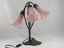 ART DECO LILY 3L TABLE LAMP IN ANTIQUE BRASS FINISH + SALMON PINK GLASS SHADES