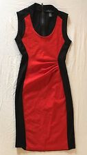 KENNETH COLE Women's Size 0 / UK 4 Pencil Dress Red & Black Color Block Rushed