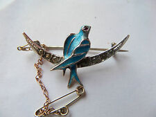 Victorian Silver  Paste Enamel Bluebird Crescent Brooch Ruby Eye