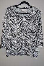 Weekends by Chico's 3 XL 1X Top Black White Animal Print 3/4 Sleeves MINT!