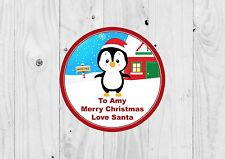 24 x Personalised Christmas Labels, Penguin, Cute, Present Labels.