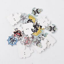 100pcs Pirate Style Skull with Crossbone 2-Hole Wooden Buttons Dyed Mixed Color