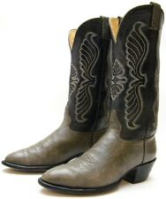 MENS VINTAGE HONDO TALL GREY GRAY LEATHER COWBOY WESTERN BOOTS SZ 9.5~1/2 D
