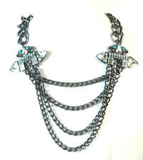 LADIES STUNNING GUN SILVER MULTI LAYER STATEMENT NECKLACE EVENING WEAR (ST66)