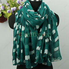 Women's Fashion Scarf Animal Scarf Cute Sheep Print Ladies Long Scarf Shawl New