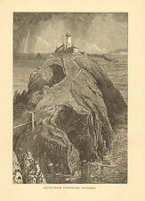 Wales, England, South Stack Lighthouse, Holyhead Vintage, 1875 Antique Art Print