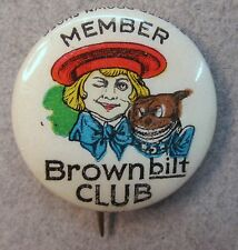 1920's Buster Brown MEMBER BROWN BILT CLUB shoes CELLULOID pinback button