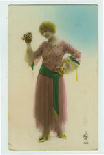 1920's French Deco FLAPPER FASHION antique tinted photo postcard