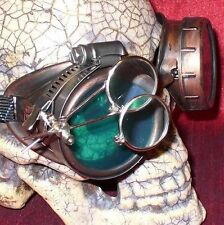 Steampunk Goggles Glasses magnifying lens Old Red Green novelty biker motorcycle